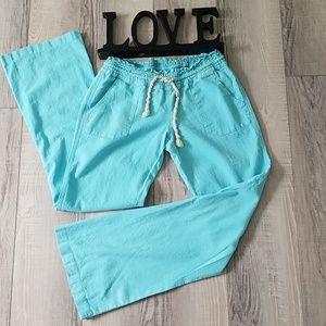 Roxy Turquoise Linen Blend Drawstring Pants M.